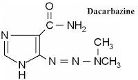Dakarbazin bekerja dengan menimbulkan metilasi pada sel dan sanggup membunuh sel tumor pada Dakarbasin