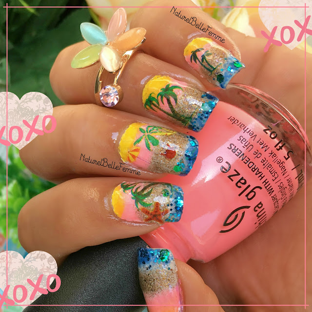 summer beach manicure