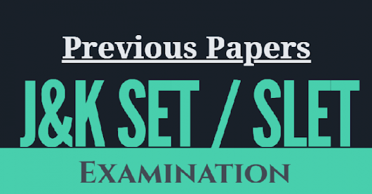 Previous papers of SET all subjects Jammu & kashmir