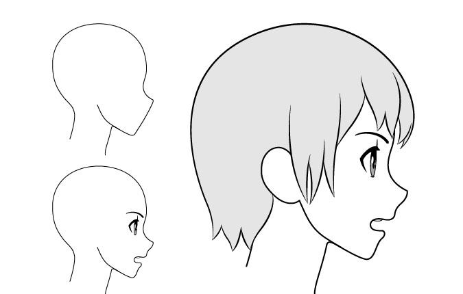 Gadis anime gambar tampilan samping mulut sedikit terbuka