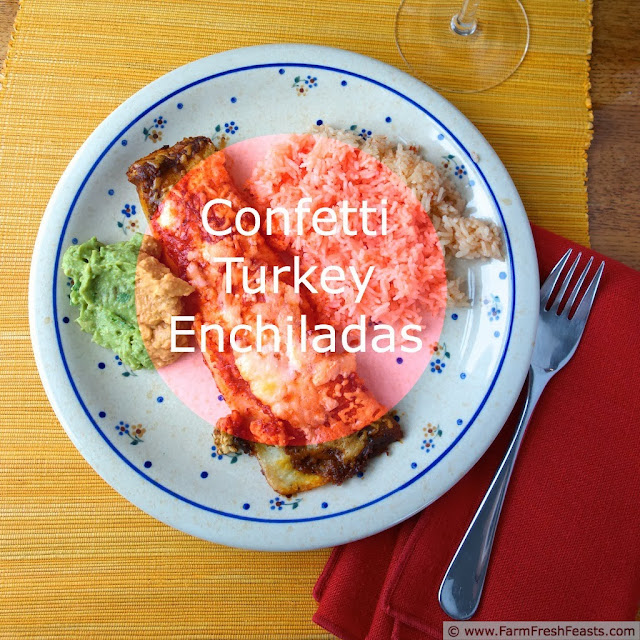 Confetti Turkey Enchiladas with Slow Roasted Tomato Sauce | Farm Fresh Feasts