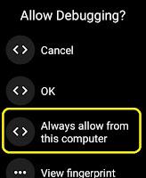Allow Debugging tutorial wear os