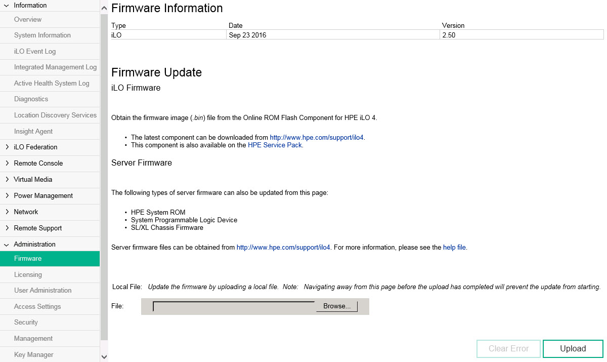 How to Upgrade iLO4 on HPE DL380p Gen8 Servers Using iLO4