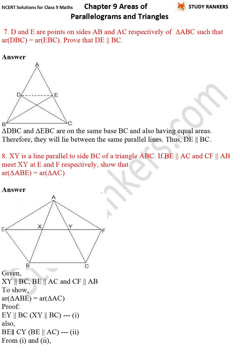NCERT Solutions for Class 9 Maths Chapter 9 Areas of Parallelograms and Triangles Part 12