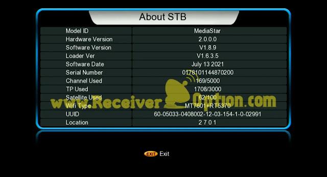 MEDIASTAR SOFTWARE FOR GX6605S HW203 VERSION 13 JULY 2021