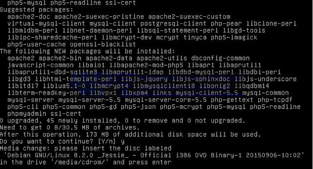 Install apache2 phpmyadmin mysql-server dan links