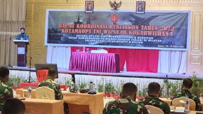 Pangdam I/BB Pimpin Rapat Koordinasi Rentinkon 2022