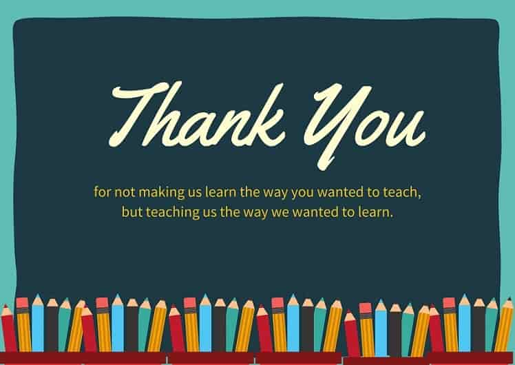 thank you messages from students to teacher