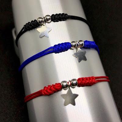 Pulsera cordón colores y colgante estrella de plata. Joyería Artesanal Personalizada