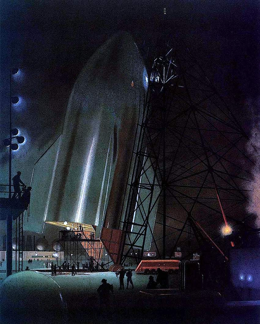 Chesley Bonestell rocket on launch pad