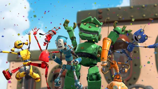 fotograma en 3D de la película Robots de los personajes de robots Los Oxidados