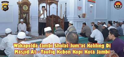 Jumling Rutin Polda Jambi Di Masjid At-Taufiq Kebon Kopi Kota Jambi Dipimpin Oleh Wakapolda Jambi