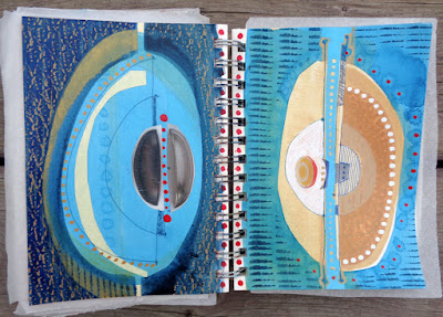acrylic and mixed-media paintings on paper in my 5x7 sketchbook titled ARCHAEA