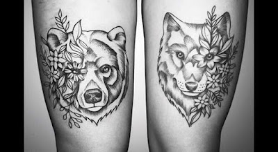 black and white bear tattoo