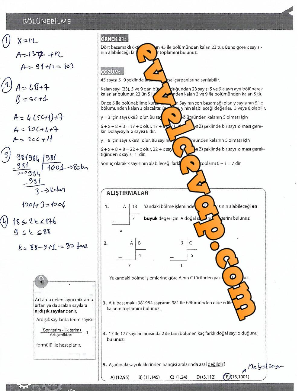 9.Sınıf Matematik MEB Yayınları Ders Kitabı 182.Sayfa Cevapları 4.Ünite