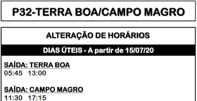 P32 TERRA BOA/CAMPO MAGRO 2020 | Horário de ônibus | Campo Magro PR