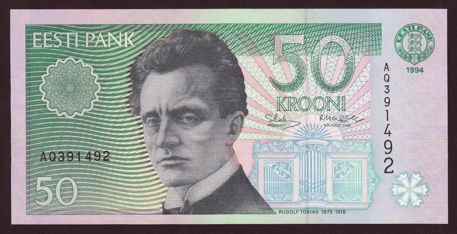 Estonia currency money 50 krooni banknote, Rudolf Tobias