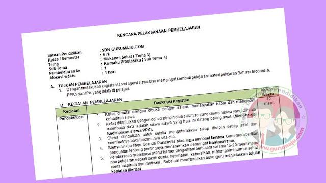 RPP 1 Lembar Kelas 5 Semester 1 Tema 3 K13 Revisi