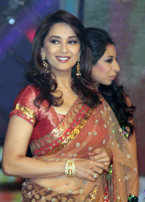 Indian Actress Hot Women Madhuri Dixit Maroon Designer Saree