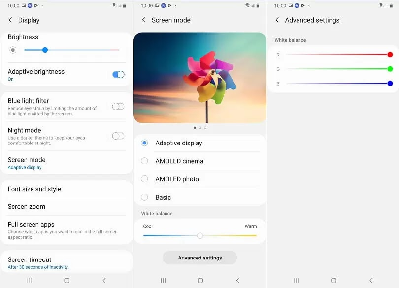 Samsung Galaxy A50 Display Settings