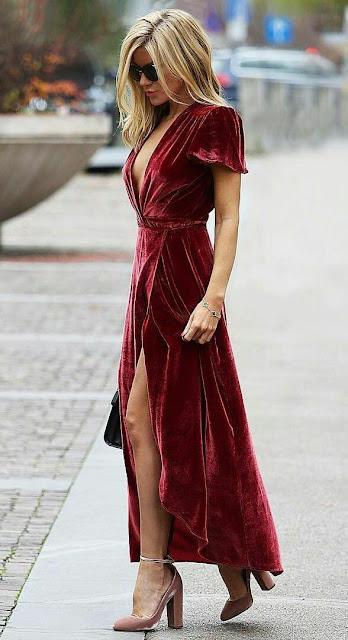 Red-wine-velvet-dress