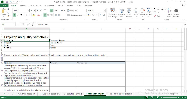 project quality management plan template excel
