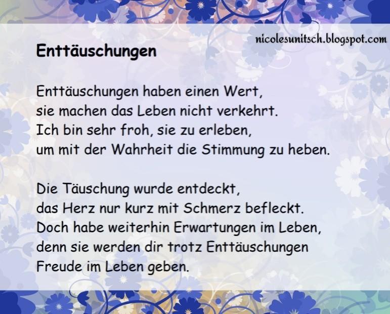 Gedichte Von Nicole Sunitsch Autorin Enttauschungen Gedicht