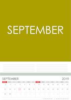 Simple Desain Kalender 2019 Indonesia bulan September beserta Hari Libur Nasional