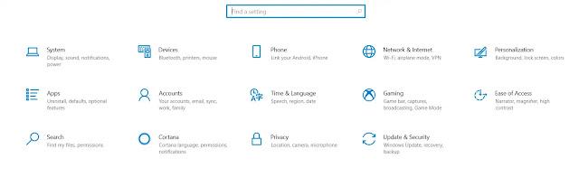 Windows 10 Settings page