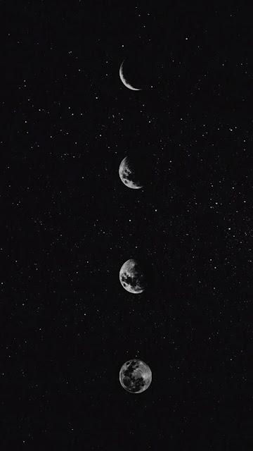 دورة إكتمال القمر Moon أربع مراحل صورة أبيض وأسود