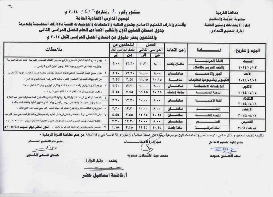 جدول امتحانات المرحلة الاعدادية الترم الثانى 2014 محافظة الغربية 10177935_85292361472