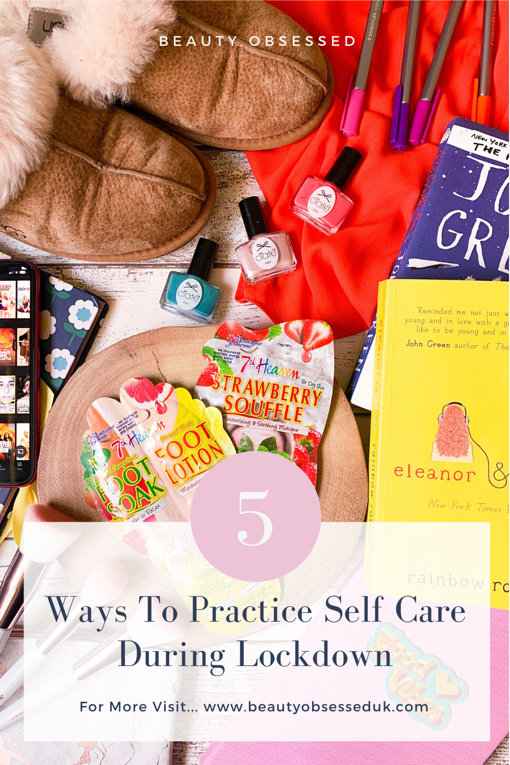 5 Ways To Practice Self Care During Lockdown Pinterest Graphic