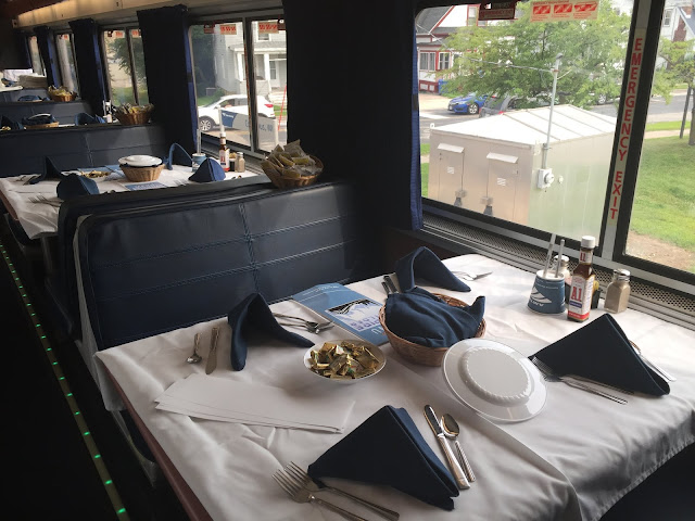 Tables in the Dining Car of the Empire Builder