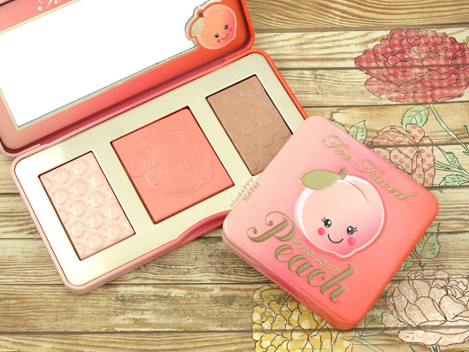Too Faced Sweet Peach Glow Highlighting Palette & Papa Don't Peach Blush: Review and Swatches