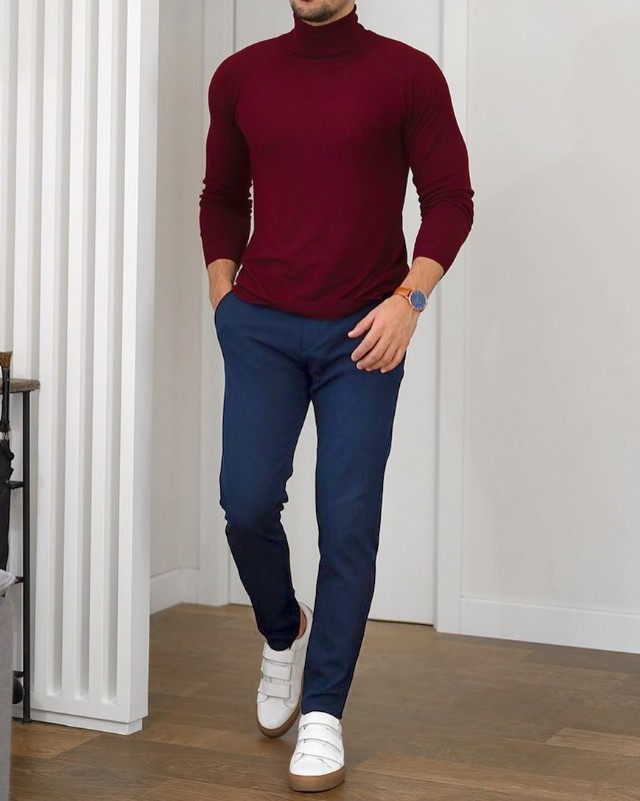 Maroon highneck and blue trouser