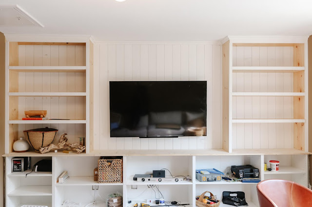 DIY Built-Ins with Vertical Paneling and Media Storage!