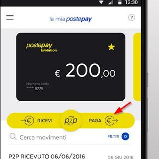 Invia pagamento Postepay