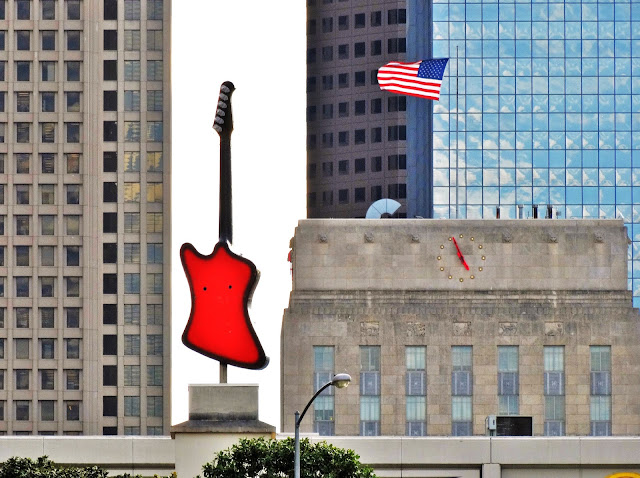 Roof guitar, flag, and City Hall clock