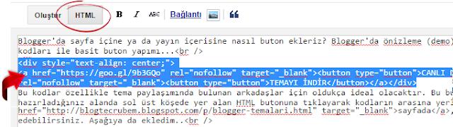 HTML buton kodu