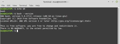 Tampilan menu di linux bash