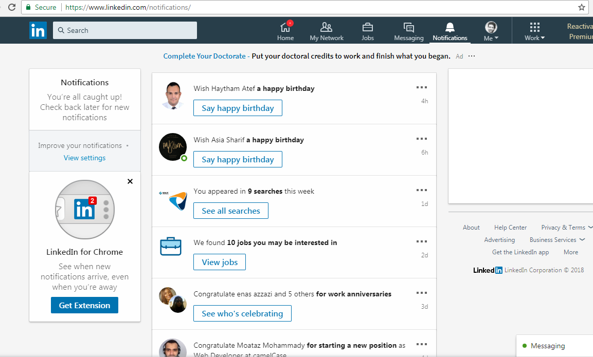 my account s notification page on linkedin
