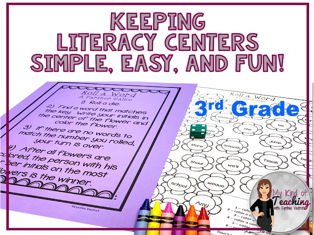 simple, easy, and fun literacy no prep literacy centers for 3rd grade
