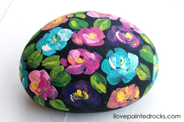 flower painted rock finished project
