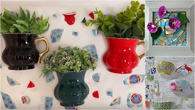 DIY Ψηφιδωτά τοίχου με φυτά από σπασμένες κούπες