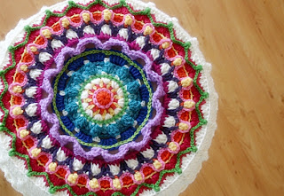 Mandala and Stool Cover Crochet Pattern by Susan Carlson of Felted Button