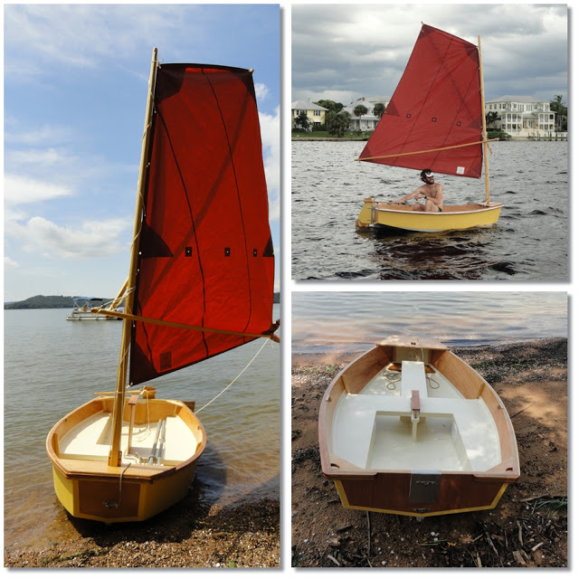 Hand built plywood and fiberglass dinghy. It is painted yellow on the outside, and has a red sail.