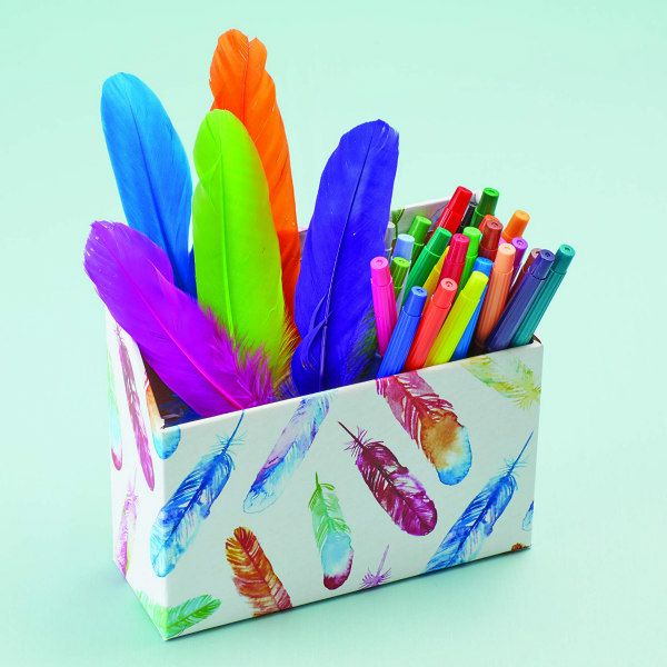 feathers gift wrap paper covers a pencil box filled with colorful markers and feathers