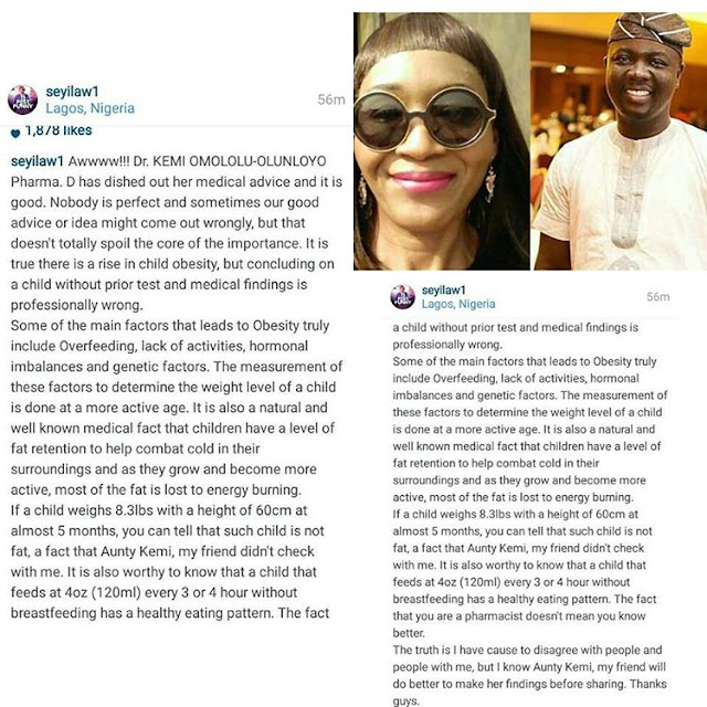 Image result for kemi olunloyo calls seyi law's baby fat