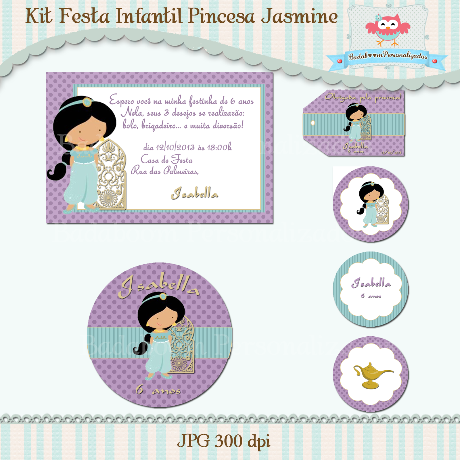 kit digital, artes digitais, festa infantil, personalizados, jasmine, princesas, convite, topper, latinha, min to be, tubete, tag, rotulos
