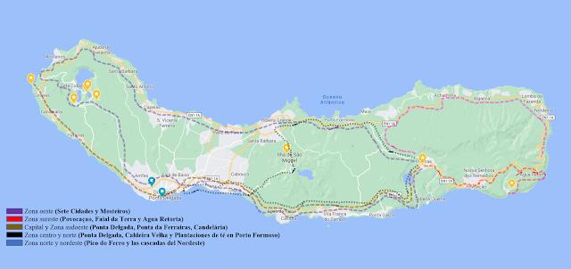 Mapa de la Isla San Miguel con 5 recorridos principales señalados